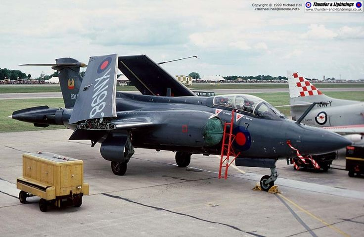 Blackburn Buccaneer S.2A XN982 of 809 NAS at Greenham Common, IAT 1977. Not long after, XN982 would become a maintenance airframe, and was then used as a fatigue test specimen when the Bucc's wing fatigue problems showed up. What was left after that was scrapped in 1992