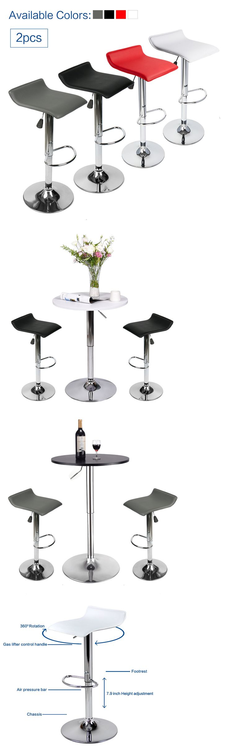 Bar Stools 153928: Modern Set Of 2 Bar Stools Leather Adjustable Swivel Pub Chair Table Multi Color -> BUY IT NOW ONLY: $43.99 on eBay!