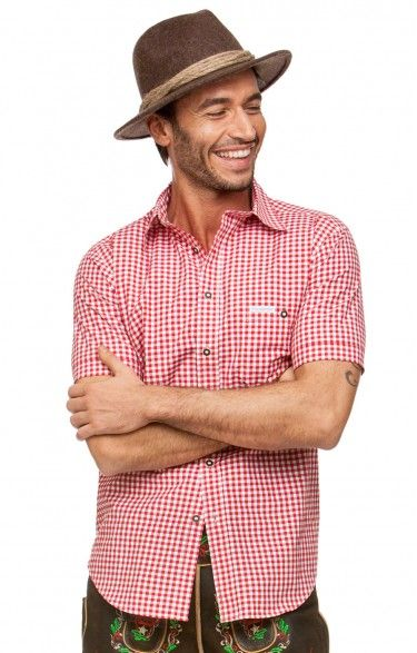 Chequered short sleeve shirt for men Renko2 red