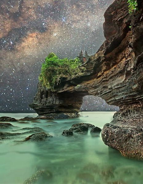Starry night at Tanah Lot, Bali