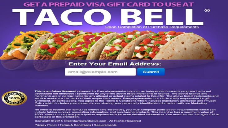 GET FREE $100 TACO BELL GIFT CARD.