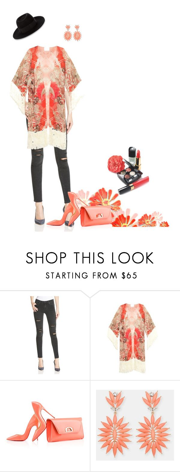"""Untitled #79"" by myrealityrehashed ❤ liked on Polyvore featuring Paige Denim, Athena Procopiou, Christian Louboutin, Lady Fox, Maison Michel, Chanel and kimonos"