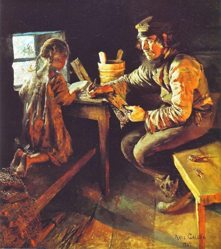 Akseli Gallen-Kallela (26 aprilie 1865 - 7 martie 1931), pictor şi grafician finlandez - The First Lesson