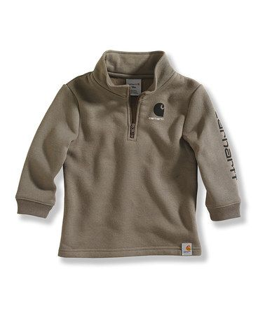Take a look at this Brown Logo Three-Quarter Zip Fleece Pullover - Toddler by Carhartt on #zulily today!