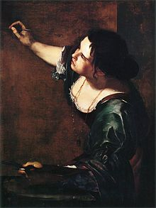 At a time when women did not paint, Artemisia Gentileschi (1593-1656) defied both the church and society. Raped by her father's colleague, the muralist Agostino Tassi, followed by a sensational trial in which she was physically examined in court and tortured using thumbscrews, her early life long overshadowed her extraordinary talent. Yet she rechanneled her hatred into her depictions of strong women who took charge of their fate. Self-portrait  by Artemisia Gentileschi (km).