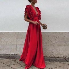 Chiffon Ruffled Sleeve Solid Color V Neck Aline Maxi Long Dress