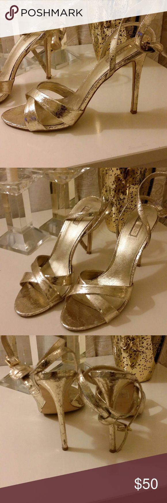 TopShop Gold Strappy Sandals Tres chic! Sexy gold sandals, worn twice. Just doing a closet clean out and i havent worn them so maybe you will! Topshop Shoes Heels