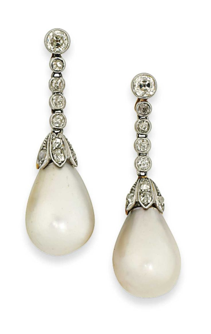Lot 43 Is A Pair Of 19th Century Natural Pearl And Diamond Earrings  (estimate: