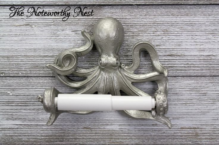 CUSTOM COLORS Octopus Toilet Paper Holder // bathroom decor // nautical decor // nautical bathroom / sea theme bathroom / Silver Octopus by TheNoteworthyNest on Etsy https://www.etsy.com/listing/502237141/custom-colors-octopus-toilet-paper
