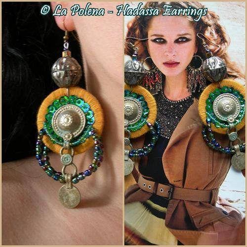 https://flic.kr/p/PhD1TP | Hadassa earrings | Turkoman button dangle earrings. Artisan ebads Type I by La Polena.