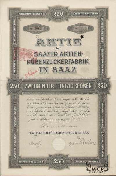A1182 Muzeum cennych papiru / Saazer Aktien-Rübenzuckerfabrik in Saaz ( Žatecký akciový cukrovar v Žatci ) 1919 / AZP3CZ165