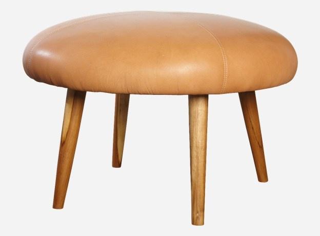 Stool, Soft, dia.: 64 cm, h.: 38 cm, 100% leather