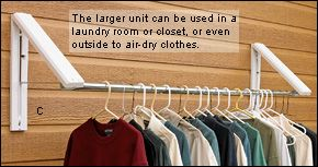 Folding Hangers - Hardware- for laundry area? Hang clothes outside to air dry without a clothesline?