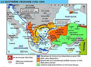 Cuarta cruzada. Fue una expedición militar que varió su rumbo, terminando con la conquista y el saqueo de Constantinopla.