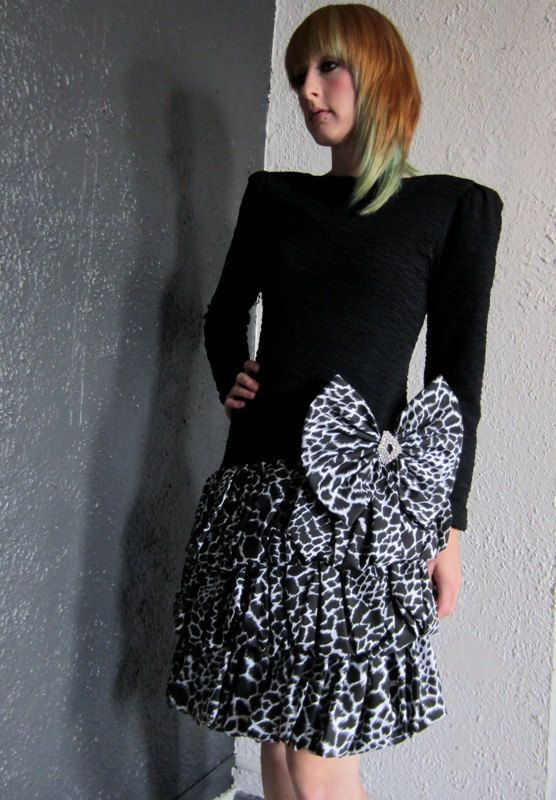 80's Black & White Animal Print Prom Party by ViceVersaVintage, $69.50