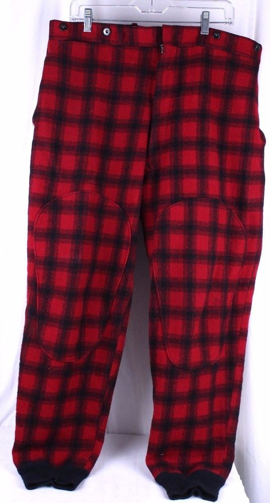 VTG Woolrich Red Black Buffalo Plaid Wool Hunting Pants Mens Size 38 Ribbed Cuff #Woolrich #19230