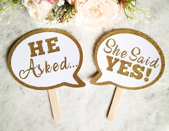 2 Piece He Asked She Said Yes Speech Bubble Sign Etsy Engagement Announcement Wedding Photo Booth Props Wedding Photo Booth He said, i'm very busy today. ann: engagement announcement