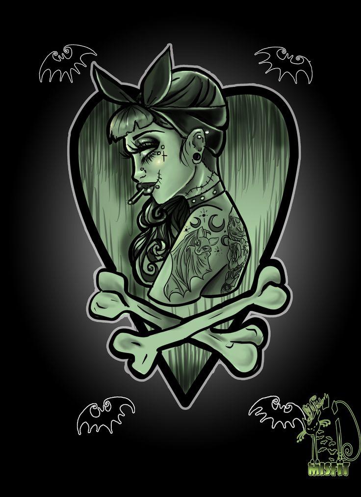 Zombie tattoo girl  #zombie #horror #design #halloween #graphicdesign #digital…