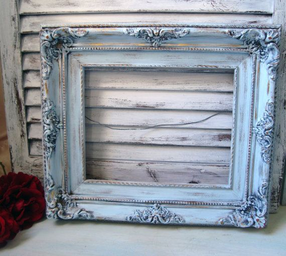 Light Blue Vintage Ornate Frame Shabby Chic by WillowsEndCottage, $42.00
