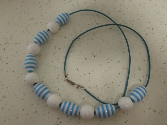 Long blue and white necklace with acrylic blue by SnakeEarsDesign
