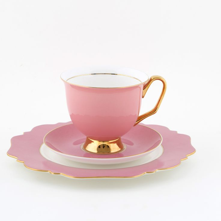 Pink #375mL #XL #Teacup and #Saucer #Set with Pink #Sideplate | Be #pretty in #pink and drink from this #bigger #better teacup you have always wanted! Get yours today at #lyndalt.com