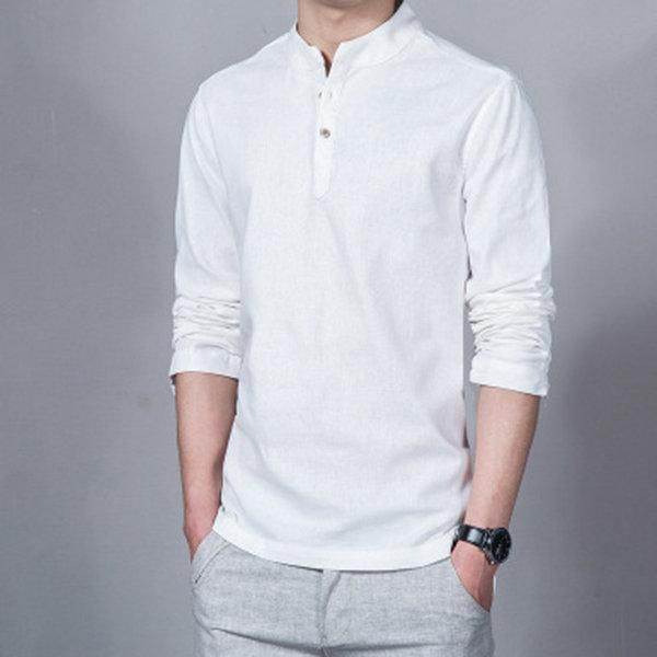 Mens Long Sleeve Stand Collar Linen Shirt Man Casual Breathable Tops T-shirt