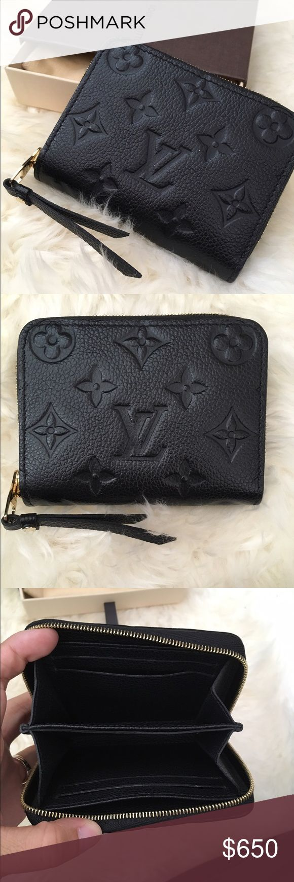 Louis Vuitton empreinte zippy coin purse 100% authentic. Soft empreinte leather. Made in France. In excellent like new condition. Gently used a few times so there's no visible signs of wear. Slight marks on zipper pull hardware that's not noticeable. More pictures on my eb@y page. Also on merc@ri. Price on posh is firm Louis Vuitton Bags Wallets
