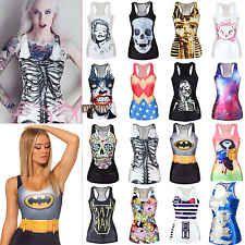 2014 Women's Chic-Look Print Tank Top Vest Blouse Gothic Punk Clubwear T-Shirt