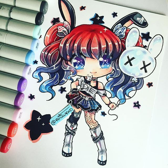 A chibi of my OC deadB ( dead bunny ) in her new redesign. The gradients were so fun to do ! What do you guys think about her new design? #chibi #oc #bunny #traditionalart #copicmarker #paigeeworld #copic #colorful #colourful #markerart #instaart #instaartist #instagramart #cute