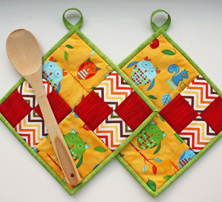 Wise Owl - Handmade Quilted Potholders