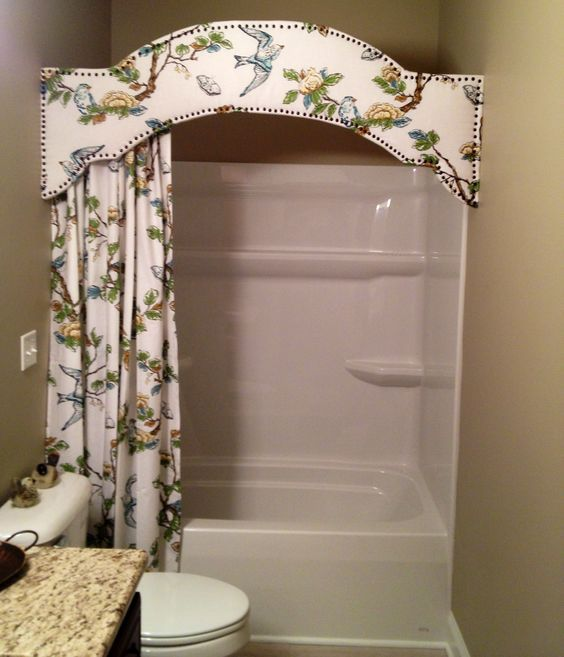 Cornice board in bathroom. a version of this would look great for your main bath Tiff: