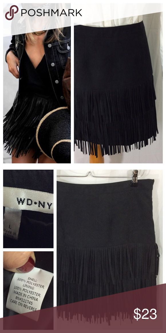 "🕉 Black Fringe Skirt On-Trend black skirt with double layer of fringe on lower half. Hidden side zipper and full lining for complete coverage. Size L, 17"" waist and 18"" length, fringe extends 1"" past lining. Excellent condition. Skirts"