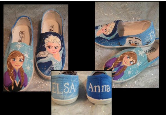 Hand Painted Frozen Shoes Anna Elsa Any size by RaindropDesignCo