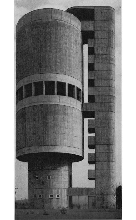 As water shortages and water security start to mean more and more in this new world weather reality we're living through... You've got to imagine water towers are going to mean more and more. Helmut Erdle, Water tower, Backnang, Germany, 1961