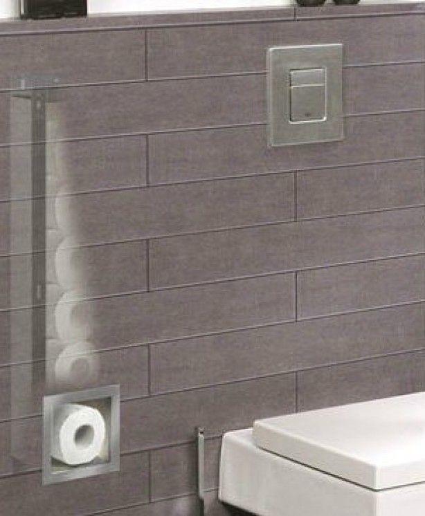 naast de spoelunit voor het hangende toilet is meestal ruimte om deze reserve rolhouder in te bouwen.