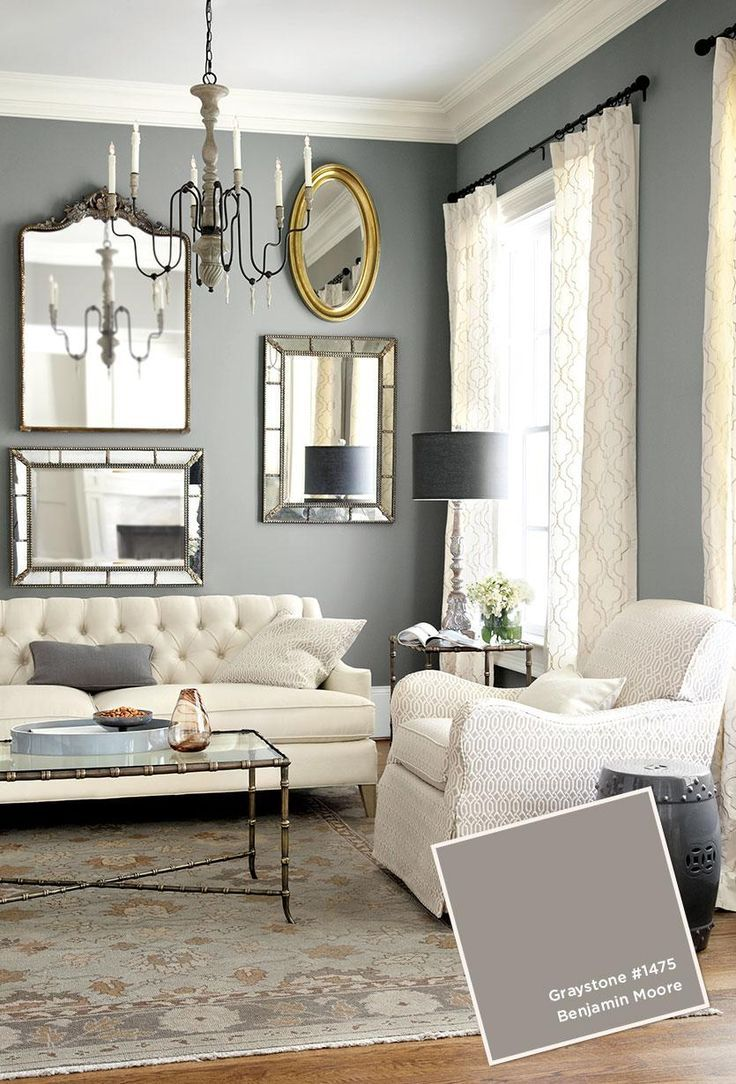 Graystone by Benjamin Moore. Plus placing large mirrors near the window to reflect more light into the room. I love the look of a grey and white living room, but I love bright splashes of color too.