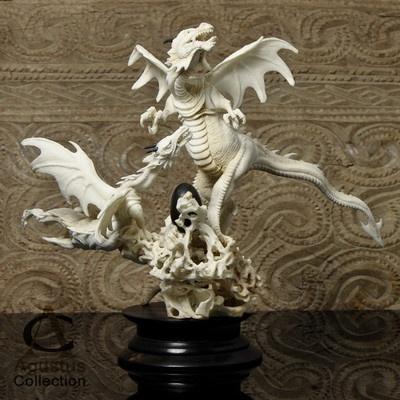 Two DRAGONS in NEST with EGG ~ MOOSE ANTLER ART CARVING SCULPTURE ~ HANDCRAFTED in BALI: Antler Carvings, Dragon Dreams, Dragon Tales, Dragon Sculpture, Bone Carving, Antler Art
