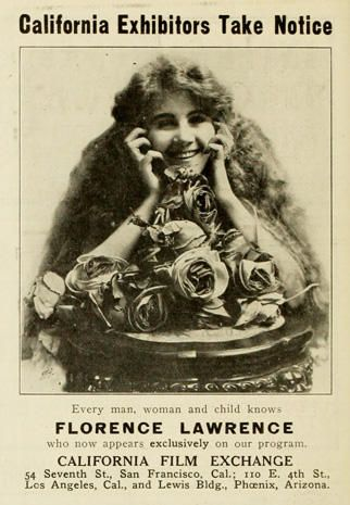 Ad featuring Florence Lawrence, Moving Picture World 1912