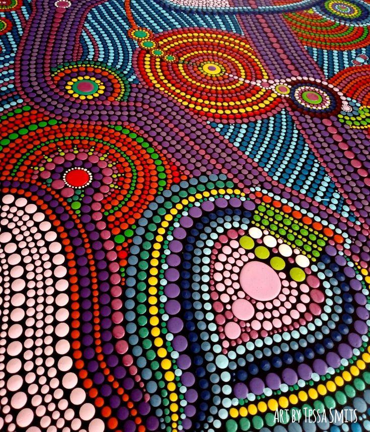 Abstract dot art schilderij Tessa Smits No.558 -detail