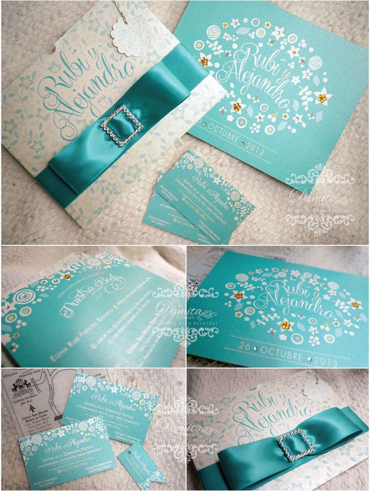 Invitacion Boda, verde turquesa hermosas!! Hacemos diseños personalizados