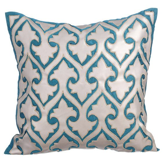 Istanbul - 16 x 16 Teal Blue Silk Appliqued with Silver Faux Leather Pillow.