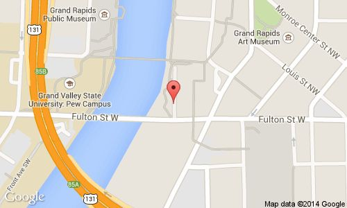 """A map showing Courtyard Marriott Downtown the  Home base for """"First Flight"""" a finalist in ArtPrize 2014....the World's largest Art gathering going on in Grand Rapids until Oct 12.2014"""