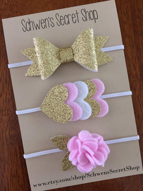 Gold felt headband baby girl headband felt by SchwensSecretShop