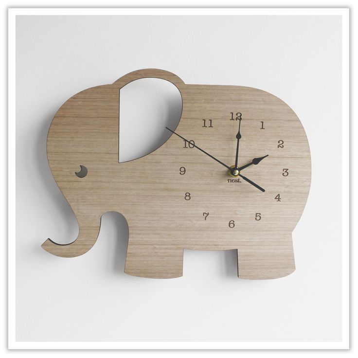 Wpuld probably be easier for me to cut out this elephant than the other clock we have pinned. A little more simple and childlike.
