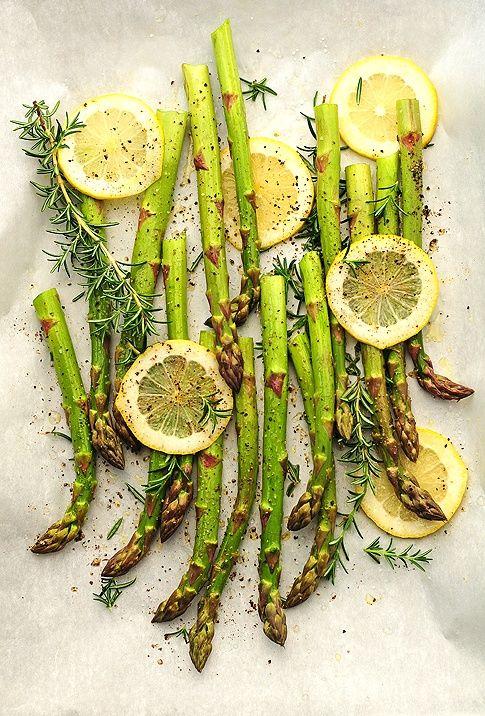 Roasted lemon herb asparagus