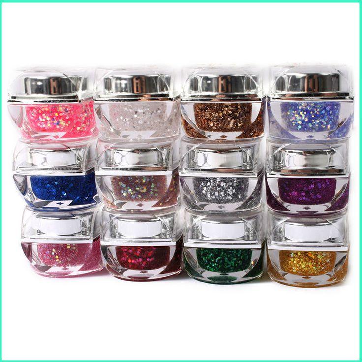 2017 New  Supplies 12 Beauty Colors Uv Nail Gel Glitter Refinement Sequins Glass Glue Wholesale