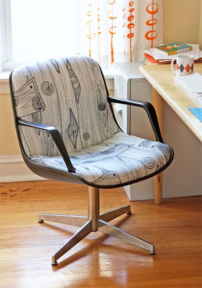 love the chair and the fabricChairs Makeovers, Rocks Chairs, Desks Chairs,  Rocker, Office Chairs, Chairs Upholstery, Offices Chairs, Dining Room Chairs, Diy Projects