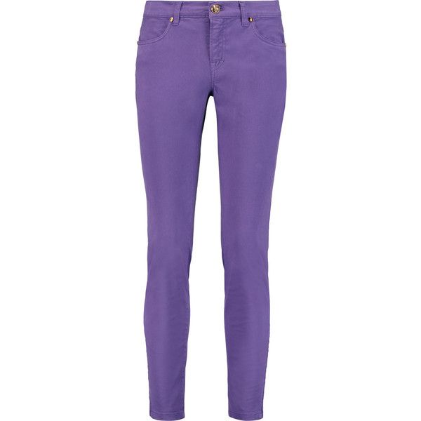 Emilio Pucci Mid-rise skinny jeans (555 PLN) ❤ liked on Polyvore featuring jeans, pants, emilio pucci, pantaloni, purple, leather skinny jeans, purple skinny jeans, skinny fit denim jeans, purple jeans and denim skinny jeans