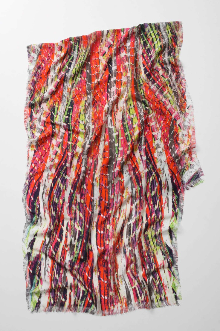 Scanned Rag Rug Scarf, simplified to two dimensions, crisp coloured cords cover a lengthy swathe of silk.