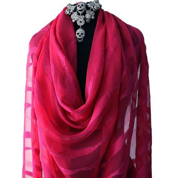 pink magenta devore silk fabric chiffon embroidered pure silk